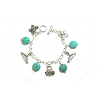 Silver Plated and Turquoise Charm Bracelet